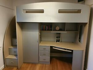Loft Bed - Odyssey space saver with desk, drawers, wardrobe, shelves. Sturdy