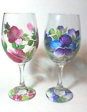Hand Painted White Wine Glass with Pansies