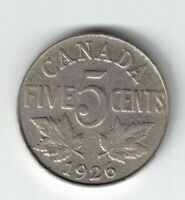 KEY DATE CANADA 1926 FAR 6 FIVE CENTS KING GEORGE V NICKEL CANADIAN COIN