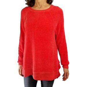 SOFT SURROUNDINGS XL Bonita Coral Orange Chenille Ruffle Hem Tunic Sweater Fall