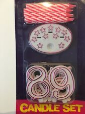Candle Set 8 Pink White Stripe Candles, Holder And 0-9 Numbers