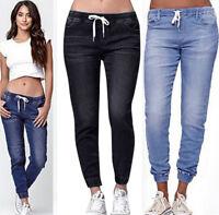 Women Girls Elastic Plus Size Loose Denim Pants Casual Drawstring Cropped Jeans
