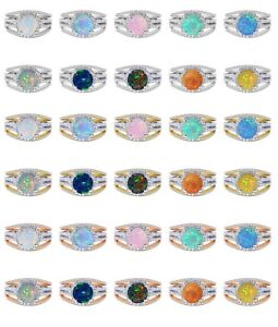 18k Gold Plated Fire Opal Birthstone Wedding Engagement Silver Ring Set 2.35 Ct