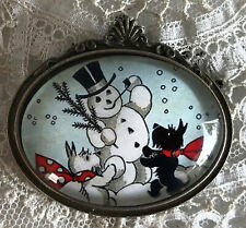 SCOTTIES BUILDING A SNOWMAN Glass Dome BROOCH Pin Vintage Christmas Card Dog