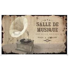 """Plaque de porte """"Salle de Musique"""" en métal vintage rétro phonographe Class Déco"""