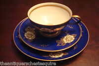 GLORIA ANTON WEIDL Germany Trio cup, saucer and cake plate, gorgeous blue [94]