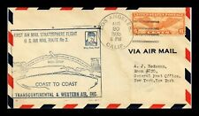 DR JIM STAMPS US COVER FIRST AIR MAIL STRATOSPHERE FLIGHT LOS ANGELES ROUTE 2