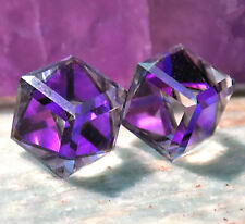 Heliotrope-Purple Stud Earrings, 10mm Slant Cube, Swarovski Rhinestones, 1 pair