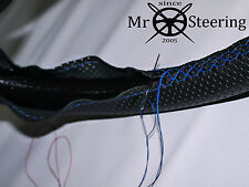 PERFORATED LEATHER STEERING WHEEL COVER FITS CITROEN SAXO LIGHT BLUE DOUBLE STCH
