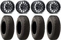 """Raceline Trophy 14"""" Wheels Black +38mm 32"""" BFG KM3 Tires Can-Am Defender"""