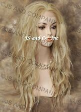 Human Hair Blend Full Lace Front Wig Heat OK Blonde Mix Wavy sy  #613-27
