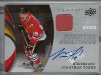 2008 UD Swatches autographed hockey card Jonathan Toews, Chicago Blackhawks