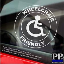 1x sedia a rotelle disabili amichevole-Round-Finestra Adesivo-segno, auto, avviso, notare