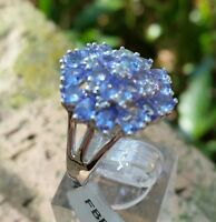2.96 cts Genuine Tanzanite Cluster Size 7 Ring in 925 Sterling SIlver with Topaz