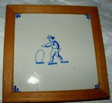 ANTIQUE DUTCH DELFT BLUE & WHITE TILE FRAMED CHILD PLAYING WITH A HOOP BOY