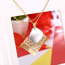 Jewelry Gifts Three Tone Filigree Necklace Square Shape 14K Gold Plated