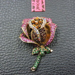 Woman's Rose Pink Crystal Flower Betsey Johnson Charm Brooch Pin Gift