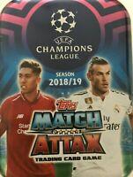 MATCH ATTAX UEFA CHAMPIONS LEAGUE 2018/19 EMPTY MINI TIN + 100 CARDS MINT