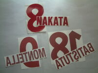 NOME+NUMERO UFFICIALE AS ROMA AWAY 2000-2002 official nameset