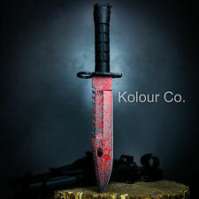 """13"""" CS GO Tactical Fixed Blade Hunting Knife Bayonet Bowie BLOOD SPLATTER New"""