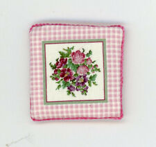 Dollhouse Miniature Floral Bouquet on Pink Gingham Check Pillow by Itsy Bitsy