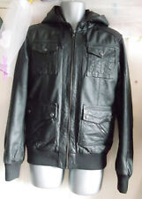 """River Island Men's Leather hoody lined Jacket Size S-40"""" chest,elasticated waist"""