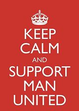 """A5 Red """"Keep Calm and Support Manchester Man Utd"""" Blank Birthday Card Football"""