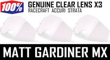 100% PERCENT MOTOCROSS GOGGLE GENUINE CLEAR LENSES X 3 Racecraft Accuri Strata