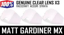 100% PERCENT MOTOCROSS GOGGLE CLEAR LENSES X 3 Racecraft Accuri Strata
