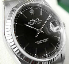 Rolex DATEJUST 16234 Mens Steel & White Gold JUBILEE 36MM Black Index Dial