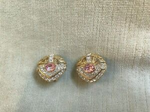 """Vintage Nolan Miller Pink And Clear Rhinestone Clip Earrings Gold Tone 7/8"""""""