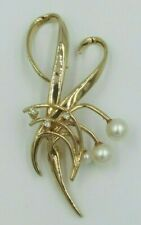 "Pearls 2""L - 1"" W & 6 grams Vintage Large 14K Solid Gold Brooch With Diamond &"