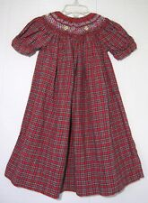 STRASBURG Girls Toddler Red Plaid Multicolor Smock Cotton Flannel Dress 18 Month