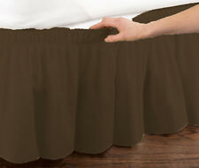 Brown Elastic Ruffled Bed Skirt: Wrap Around Easy Fit, Twin or Full Size