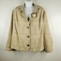 Vintage 80s Surrealist Taupe Beige Tapestry Swing Coat Sz 2 Floral Fabric Brooch
