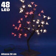 Albero di Natale Luminoso Ciliegio per Interno 48 LED H50cm Bianco Caldo e Rosso