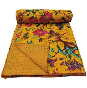 Kantha Quilt Yellow Fruit Indien Cotton HandmadeThrow Bedspread Twin Size Gudari