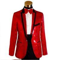 Mens Nightclub Costume One button Jacket Slim fit Blazers Coat Lapel Sequined