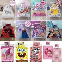 GIRLS SINGLE PANEL DUVET COVER SET KIDS - TROLLS, LADYBUG, PONY, PRINCESS & MORE
