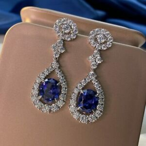 4.60Ct Oval Cut Blue Sapphire Halo Drop & Dangle Earrings 14K White Gold Over
