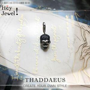 Vintage Skeleton Zircon Charm Pendant Unisex Fit Bracelet 925 Sterling Silver