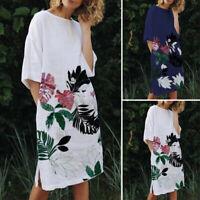 UK Women Floral Long Dress Ladies Holiday Summer Beach T-shirt Dress Half Sleeve