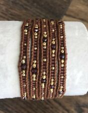 New Auth Chan Luu Garnet Mix Five Wrap Light Brown Leather Bracelet