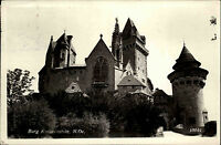 Burg Kreuzenstein bei Leobendorf Niederösterreich s/w AK 1953 Partie an der Burg