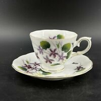 Vintage Napco 3A 4897 Porcelain China Teacup & Saucer February Purple Flowers