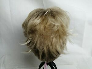 Creamily Layered Short Pixie cut wig Blonde rooted hairpiece womans