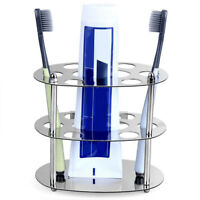 7 Hole Stainless Steel Toothbrush Holder Storage Wall Mounted Bathroom Removable