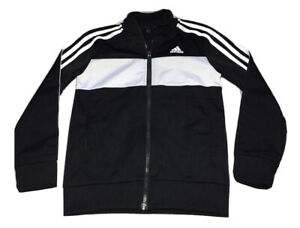 Boys Black White Jersey Jacket Age 7-8 Years Adidas