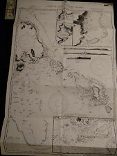 Antique Vintage US Navy Nautical Chart Aeronautical Map   Isle Of Pines  Pacific