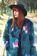 Story of Lola Peacock Faux Fur Coat Polka Dot Shaggy Mongolian Jacket ASOS $299